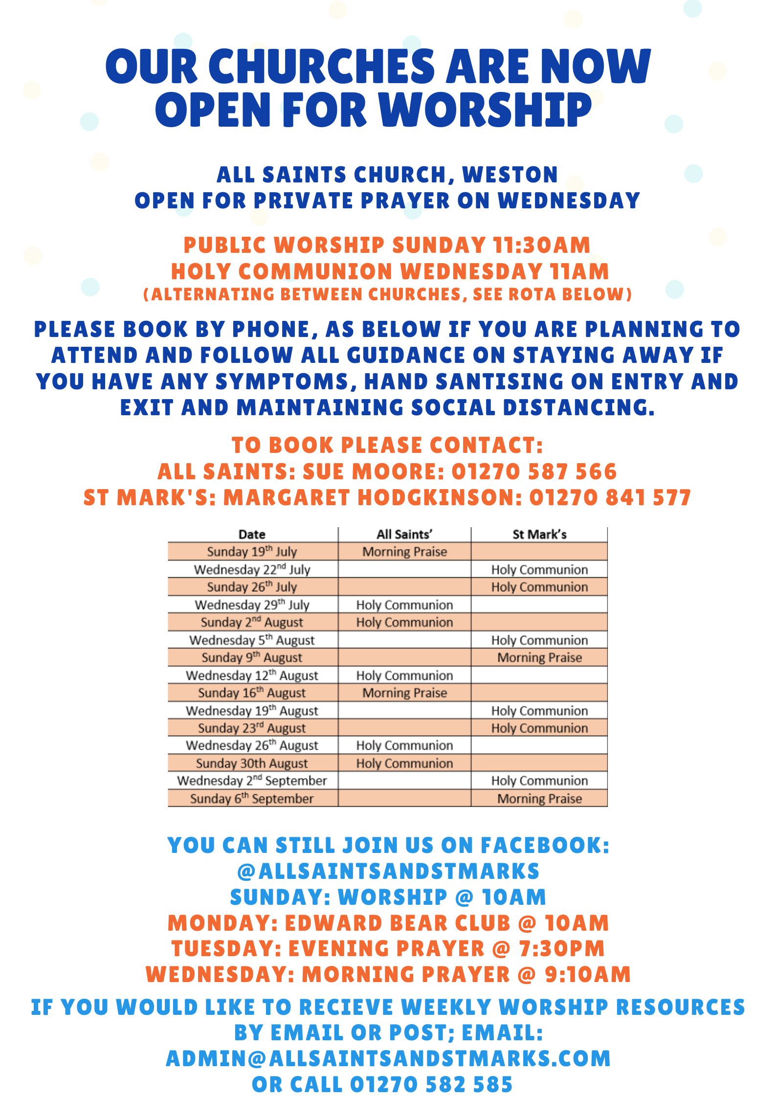 Public Worship Dates with Numbers